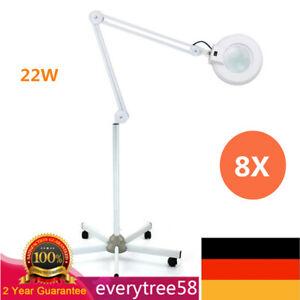 8X Lupenleuchte Kosmetik Lampe Lupenlampe 5-Rad Rollstativ Salon Licht Weiß Neu!