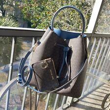Michael Kors Lady Bucket Crossbody Messenger Handbag Tote Bag Brown+ Coin Wallet
