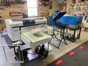 Epson F2000 DTG Printer Tucloc Speed Treater Heat Press complete Tshirt Business