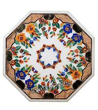 24 Inches Marble Coffee Table Top Octagon Center Table with Pietra Dura Art
