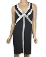 Maggy London New Size 8 Sleeveless Sheath Dress Black w White Trim Scoop Neck