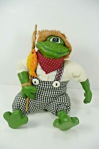 Mr. Tadpole Frog Critter Russ Berrie Collectable Plush Green Ceramic Ft. Hands