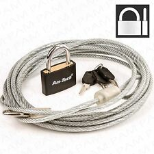 3m Vinyl Coated Cable WITH 30MM PADLOCK +2 KEYS Bicycle Motorbike Trailer Secure