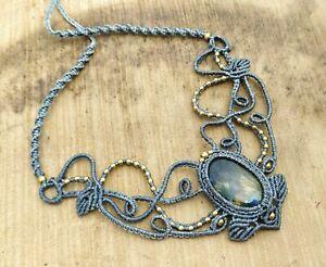 Macrame Necklace Pendant Jewelry Labradorite Cabochon Stone Handmade Bohemian R5