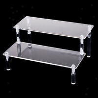 Clear 2-Tier Acrylic Makeup Dolls Character Toys Display Stand Organizer