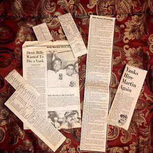 Vintage Baseball Newspaper Clippings NY Yankees Manager Billy Martin 1928-1989