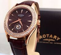 New ROTARY Ladies Rose Gold & Brown Strap Watch RRP £179 Swarovski IDEAL GIFT