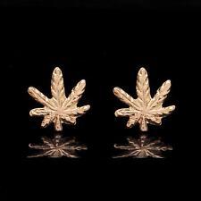 14k Yellow Gold Marijuana Leaf Earrings Cannabis Ganja Studs