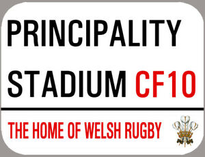 PRINCIPALITY STADIUM METAL STREET SIGN, ROUNDED EDGES,4 HOLES. WELSH RUGBY