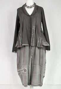 Berlin Designer PANGEA Washed Charcoal Asymmetric Swing Jacket Size L/XL