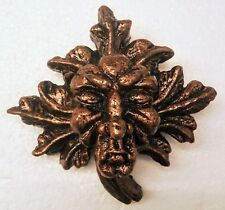 Green man wall plaque leaf face bronze color old lady gothic face