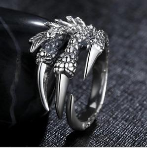 AU Vintage Silver Adjustable Eagle Claw Dragon Claw Wrap Ring Retro Punk Biker