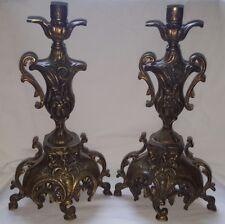 """COPPIA di candelieri bronzo decorata 13"""""""