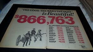 The Good, The Bad, And The Ugly Eastwood Rare Original Promo Poster Ad Framed!