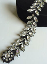 Radiant Vintage Miriam Haskell Bracelet~Clear Rhinestones/Black Japanned Metal