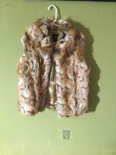 Womans RACHEL ZOE Faux Fur Vest Coat Size S RUNS LIKE M ANIMAL PRINT