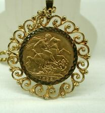 1893 Victorian Full Sovereign Coin In 9 carat Gold Pendant Mount And Chain