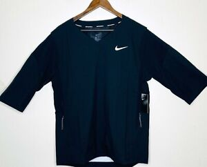 New Nike Baseball 897383 Black 3/4 Sleeve Pullover Windshirt Jacket Mens Size L