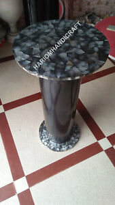 "18""H 12"" Dia Exclusive Marble Table Top Stand Black Random Work Inlaid E563(1)"