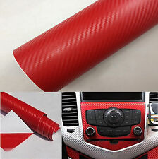 "Red Carbon Fiber Texture Decal 15""x39"" Dashboard Vinyl Wrap Decorative Sticker"