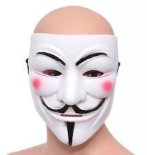 ✅V for Vendetta Guy Fawkes ✅Hacker Fancy Dress Halloween ✅Face Mask - White NEW✅