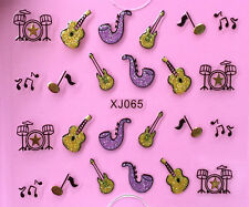 Nail Art 3D Decal Stickers Glittery Music Notes Guitar Drums Saxophone XJ065