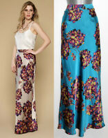 MONSOON Nude Blue BLOOM Floral Print Glamour Maxi Skirt  UK 10 12 14 RRP£89