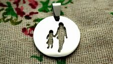 Round silver parent & child pendant charm jewellery supplies C1297