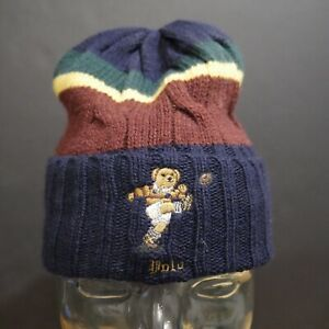 Polo Ralph Lauren Color blocked Rugby Kicker Bear Cable Knit Cuffed Beanie Hat