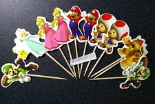12 x SUPER MARIO STYLE CAKE PICKS,CUPCAKE TOPPERS , FLAGS Luigi, Toad Princess