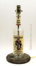 CAPTAIN MORGAN RUM Liquor Bottle TABLE LAMP Light Wood Base Bar Lounge Man Cave