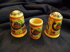 Vintage Greece Salt Pepper Shakers & Toothpick Set Handmade by A Xipolias Birds