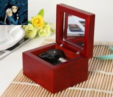 Red Wood Wind Up silver Movement Mirror Music Box:  Howl's Moving Castle Theme