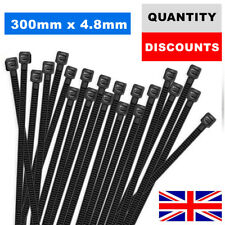300MM X 4.8MM CABLE TIES NYLON PLASTIC STRONG HEAVY DUTY BLACK ZIP TIE WRAP UK