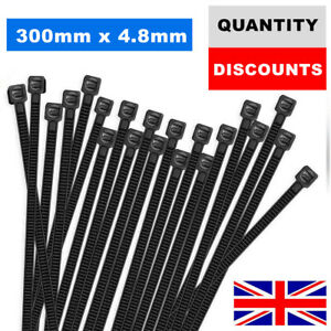 300MM X 4.8MM CABLE TIES NYLON PLASTIC STRONG HEAVY DUTY BLACK ZIP TIE WRAP UK