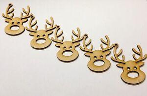 Christmas Reindeer X 5 Mdf Size 70mm x 60mm Blank Craft Decoration