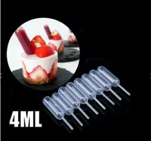 50 Pieces Plastic Squeeze 4ml Transfer Pipettes Dropper For Cupcake Ice Cream US
