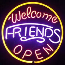 "Welcome Friends Open Neon Sign 17""x17"" Light Lamp Beer Bar Glass Decor Display"