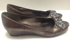 Laura Ashley Womens Size 7 Copper Pewter Color Faux Croc Rhinestone Wedge Shoes