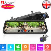 "10"" Junsun FHD 1080P Car DVR Rearview Mirror Dash Cam Dual Lens Night Vision UK"
