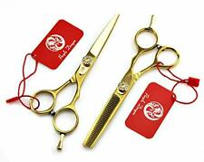 5.5 inch Professional Gold Barber Salon Scissors Set Hair Cutting Thinning Shear