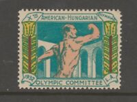 Hungary 1932 Olympic Cinderella revenue fiscal Stamp 4-11- MNH gum