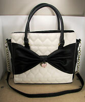 Betsey Johnson Lattice Bows Purse Quilted Heart Black Bone Faux Leather Satchel