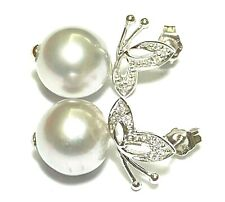 Gorgeous 11.7 x 12.4 mm Smoke Gray Indonesia South Sea Cultured Pearl Earrings