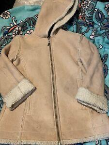 Gap Girls 7-8 Faux Fur Lined Tan Winter Coat