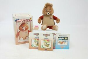 "Vintage 1985 Teddy Ruxpin Talking Doll Bear Worlds of Wonder 16"" 3 Tapes 4 Books"