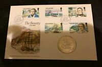 ISLE OF MAN 1989 BICENTENARY OF THE MUTINY... ONE CROWN COIN First Day Cover