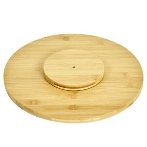 Natural Bamboo Lazy Susan 35cm Cutting Board Rotary Serving Board