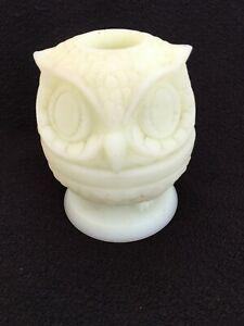 Rare Jonquil Yellow 1968 Fenton Art Glass Wise Owl Decision Maker FAIRY LAMP