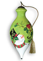Ne' Qwa Art - artisan gift boxed glass ornament - HOLIDAY HOLLY - #NQ-C-754
